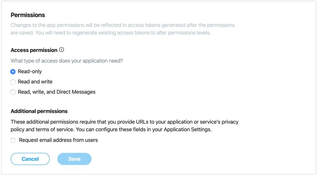 Twitter apps Permissions